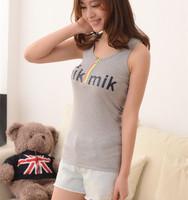 Wholesale 5pcs/lot All-Match Zipper Cotton Summer Vest For Women Spaghetti Strap Tanks Top Ladies 10 Colors VT-083