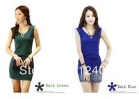 Brand New Fashion Summer Women's Sleeveless Dress Hot Sale V-Neck Slim Mini Dress Plus Size S-XXL 9 Colors Available
