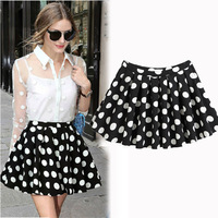 Women 2014 Summer High Waist Fashion ZA Miranda Kerr Polka Dot Pleated Bust Skirt Dot Short Skirt S M L XL XXL Free Shipping