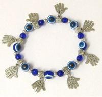 Fashion Vintage Silver Fatima Hand & Beads Evil Eye  Elastic Cord Charms Bracelet Fit Men DIY Jewelry Free Shipping 10pcs P1528