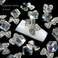 50pcs Crystal Cube & Bow Nail Art 3d Alloy Crystal Decoration rhinestone Glitters Slices