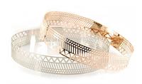 women full metal gold plate belt geometry metallic waist belt for long evening dress