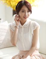 2014 Ladies' Formal Casual OL Shirt Short Sleeve Vintage Shirts Tops Chiffon Lace Flower Beading Shirts White Sheer Blouses S161