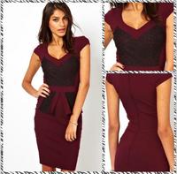 Free shipping  2014 Mature Slim waist lace flounced dress KL413