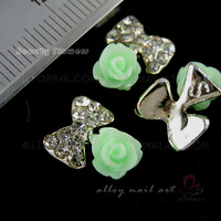 50pcs flower & Bow 3d Alloy Nail Art Crystal Decoration rhinestone Glitters Slices