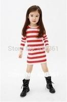 Spring of  New 2015 girls long-sleeved dress, children's T-shirts, long sleeve stripe love render unlined upper garment