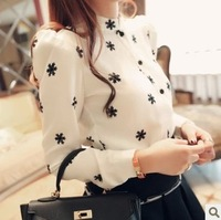 New 2014 Spring Summer Income Women Za Stand Collar Shirt OL Snow Pattern White Work Wear Blouse Elegant Casual Top Shirt R349