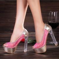 2014sandals women's summer gauze sexy crystal high-heeled shoes platform open toe shoe princess
