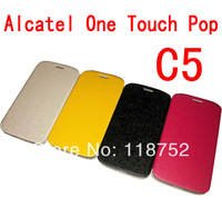 New product ! Top Quality Flip PU leather case for Alcate One Touch  Pop C5 5036 OT5036 5036D   Free shipping 1pcs/lot