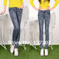 Free shipping 2014 Spring/ Autumn new arrival elastic panelled denim jeans womem skinny jeans pants boot high quality