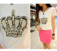 Brand New 2014 Women Fashion T-shirt Sparkling Diamond Loose Crown Printed T shirt Womens Tops Tees