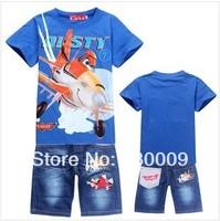 IN STOCK!New 2014 Retail Children Set Cartoon DUSTY PLANE fashion suit boys jeans sets t-shirt+pant 2pcs Kids Clothing