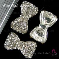 50pcs Big size silver Bow Crystal Rhinestone Alloy Nail Art Glitters DIY Decoration