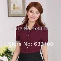 2014 New hot fashion summer Women Blouses Clothing Plus size Casual tops Beaded short-sleeved shirt Slim Korean office