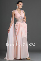 2014 New Fashion Floor Length Deep V Neck Chiffon Beading Crystle Low Back See Through Waist Evening Dresses Gown