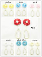 2014 new Baby barefoot sandals baby gift  gift  fabric chiffon flower  with pearl buckle sandals baby jewelry shoes 2pcs/lot