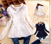 2014 spring sweet women's embroidered peter pan collar after back button slim waist cotton long-sleeve shirt