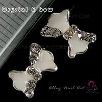 50pcs white bow Crystal Rhinestone Alloy Nail Art Glitters DIY Decoration