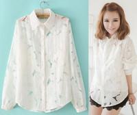Organza lace shirt female three-dimensional flower white fluid loose cardigan women's long-sleeve shirt female