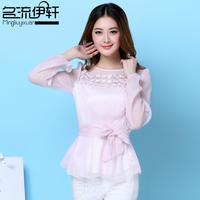 2014 spring summer women's slim chiffon shirt slim waist lacing air conditioning shirt