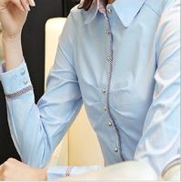 2014 women's work casual wear autumn dress female long-sleeve shirt plus size shirt white formal work wear