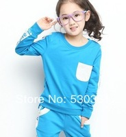 New 2015 girls spring children's wear, leisure sport suit, fleece two-piece, candy color suits of the girls