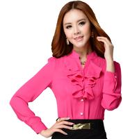 2014 spring and autumn Fashion shirt long-sleeve slim Women  plus size shirt female