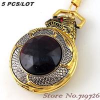5 PCS/LOT 5.0 cm gold dragon diamond pendant antique quartz big necklace pocket watch XL39