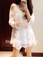 New arrival floral lace off-shoulder half sleeve white dress for pregnant women free shipping a9101