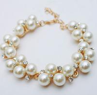 HOT Sale Fashion Simulated Pearl Rhinestone Gold Plated Chain Bangle Charm Bracelets For Women Wholesale Jewelry