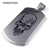 TSN073419 Fashion 316L Stainless Steel Men's Skull Pattern Dog Tag Necklace