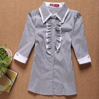 Summer 2014  outfit turn-down collar half sleeve plus size ruffle female shirt stripe shirt