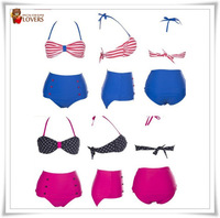 High waisted RETRO Swimsuits Suits Swimwear Vintage Bandeau Bikini Set S M L XL Available Free shipping
