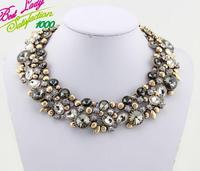 2014 New Za Brand Fashion Crystal Necklaces Pendants Costume Chunky Choker Flower Collar Necklace statement jewelry women 2516