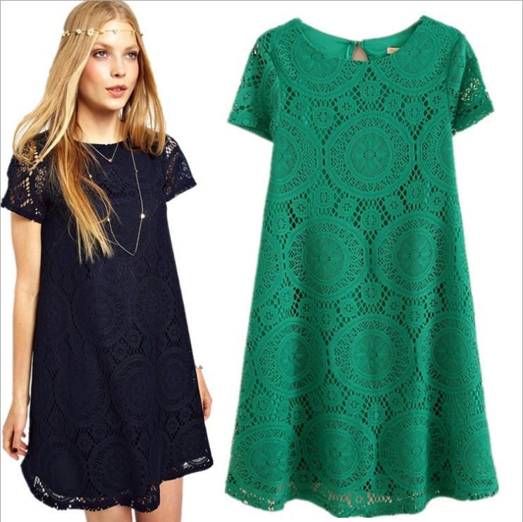 2014 Spring Summer Women New Fashion Vintage Bohemian Lace Plus Size Black White Dress Party Evening Elegant Club(China (Mainland))