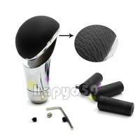 5pcs  Aluminum leather car gear shift knob modification gear stick metal car manual header gear knob MT AT gear shift knob
