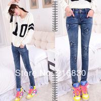 Hotsale 2014 fashion designer women jeans pants sexy dark blue ladies jeans straight pants free shipping