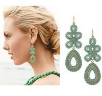 Fashion European and American earrings big exaggeration Bohemian temperament droplets Clover drop earrings,free shipping