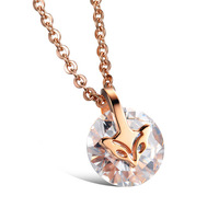CZ Gemstone Jewelry Bijouterie 18K Rose Gold Plated Fox Long Necklaces & Pendants For Women