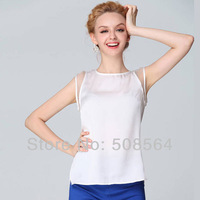 Blouses & Shirts 2014 New Qomen's Sleeveless Boat Neck Strapless Chiffon Blouse