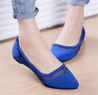 2014 new Summer gauze mesh fashion pointed toe women flats single shoes cutout plus size casual flat shoes women