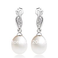 GNE0929 YFN Fashion Jewelry 925 Sterling silver Zircon Earrings 24.5*8.4mm Natural Freshwater Pearls Earrings for Women