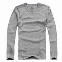 2014 spring male brief V-neck all-match long-sleeve T-shirt basic shirt