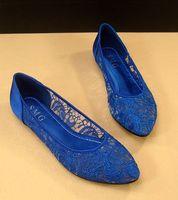 fashion 2014 Sexy gauze lace pointed toe flat-bottomed single shoes women flats cutout plus size flat shoes women