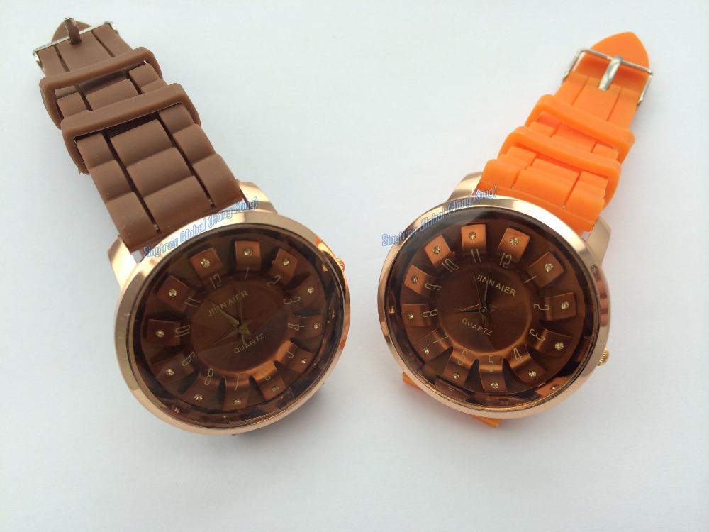 Man/Women/Boy/Girl/Child's Silicone quartz diamond dial face watch Hot sale wrist watches, Orange & Brown color fashionable set(China (Mainland))