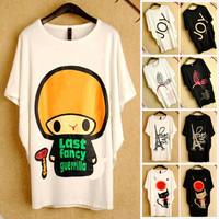 13 Styles! 2014 Women Cartoon Print Loose T-shirt Black & White 0010