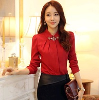 2014 New Spring Fashion Elegant Solid OL Dress Top Slim Long Sleeve Plus Size Chiffon Blouse Shirt For Women T49