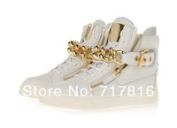 Free Shipping New Men White Genuine Leather High Sneakers Unisex Gold Chain Zip Buckle Causal Shoes Autumn Boots