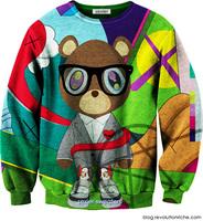 Harajuku style kanye west cartoon bear suit silky thin section sweater long sleeve T-shirt ISWAG