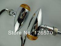 Chrome Metal Bullet Mini Turn Signals Lights for Suzuki Cruiser Custom Chopper Free Shipping